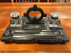 Vintage Black Marble Soap Stone And Crystal Double Ink Well, 12 3/4 W X 8 3/4 D