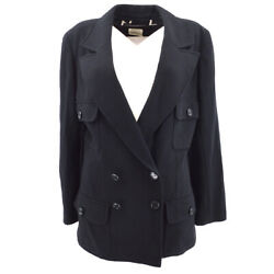 97p 38 Cc Button Double Breasted Long Sleeve Coat Jacket Black 05768