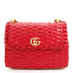 Pre-owned 524829 001998 Gg Marmont Shoulder Bag Red Straw Free Shipping