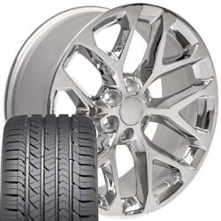 22x9 Wheel And Tire Fits Chevy Gm Sierra Chrome Rims Gy Tires 5668 Cp