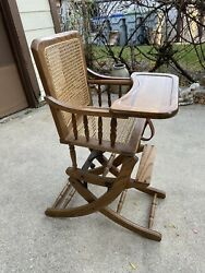 Mechanical Vintage Wooden Oak Cane Convertible Baby High Chair And Rocker + Tray