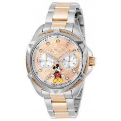 Invicta Women#x27;s Watch Disney Mickey Mouse Rose Gold and Silver Tone Dial 32434 $128.72