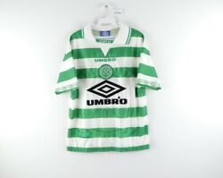 Vtg 90s Umbro Mens Small Celtic Football Club Spell Out Soccer Jersey Striped