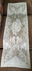 Antique Cream French Alencon Lace Table Dresser Runner Irises Floral 41x14