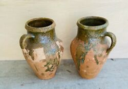Two Antique French Confit Pots Earthenware Local Pick Up Only