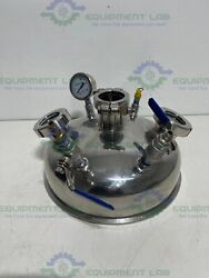 Stainless Steel 12 Sanitary Fitting Reactor Cap W/ Sight Glasses And Gauge