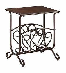 Glenwood Intriguing Chairside Magazine Rackaccent Table 7913