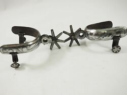 Antique Forged Silver Overlaid Cowboy Spurs 1.90 7 Point Rowles Circa 1880s