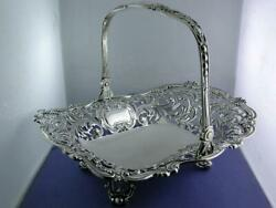Sterling Gorham Large Pierced Basket W/ Swing Handle Elaborate Pierced C1893