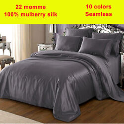 5pc 22mm 100 Silk Duvet Cover Fitted/bottom Flat/top Sheets Pillow Cases Set