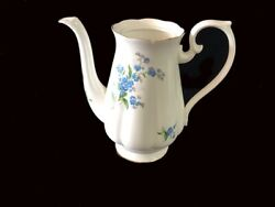 Royal Albert Forget Me Not Large 6 Cup Coffee Pot Eng C1950and039s No Lid / Chipped