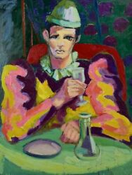 20th Century Oil On Canvas - Clown Drinking At A Table - Anna Costa 28andfrac34 X 36andfrac14