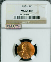 1986 P Lincoln Cent Ngc Ms-68 Pq Only 1 Finer Mac Spotless .