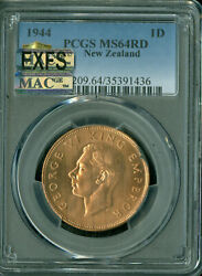 1944 New Zealand Penny Pcgs Mac Ms-64 Red Pq Exfs Exceptional 1st Strike .