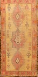 Antique Geometric Vegetable Dye Hand-knotted Authentic Moroccan Area Rug 6and039x11and039