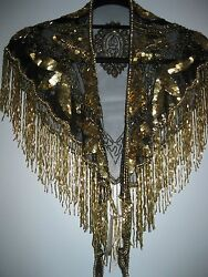 Gold Sequined Krishna Scarf By Modelia Never Worn Beautiful With Tags And Beads