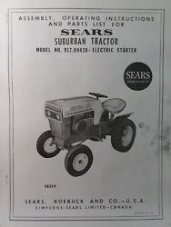 Sears Suburban 12 Riding Lawn Garden Tractor Owner And Parts Manual 917.99420 Hp
