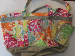 Thirty One Large Utility Tote Monogrammed Beach Bound w matching wallet $69.99