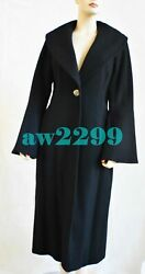 New Cashmere And Wool Bell Sleeves Coat Rare 38 40 42 Black New