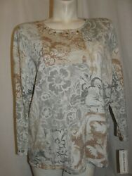 New Alfred Dunner Top Women's Size Xl Eskimo Kiss 3/4 Sleeve Patchwork Sweater