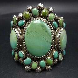 Magnificent Greg Thorne Southwestern Sterling Silver Turquoise Cuff Bracelet
