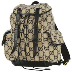 Pre-owned 598184 213317 Backpack Beige Black Fabric Leather Free Shipping