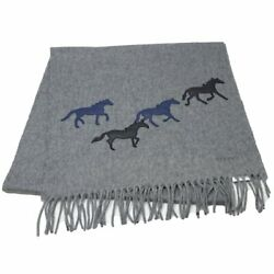 Auth Hermes Wild Horse Muffler 100 Cashmere Lamb Leather Gray /048272 Free Ship