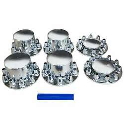 Front Rear Chrome 33mm Lug Covers Semi Truck Axle Cover Combo Wheel Cover Set