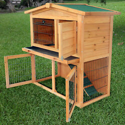 40quot;A Frame Wood Wooden Rabbit Hutch Small Animal House Pet Cage Chicken Coop New
