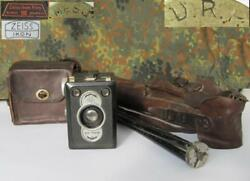 Wwii Original German Drp Zeiss Ikon Photo Camera W/tripod And Leather Cases Rare