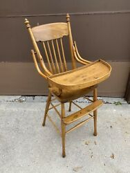 Early 1900's Antique Vintage Windsor Style Wooden Baby High Chair And Swing Tray
