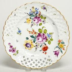 Meissen Pierced Reticulated Floral And Gold Gilt 9 Plate, Germany