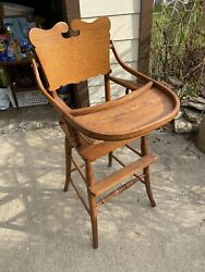 Sweet Caned Cane Bottom Seat Antique Vintage Wooden Baby High Chair And Swing Tray