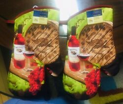 Home Collection Kitchen Oven Mitts Mittens Wine Grapes. Lot of 2. ASeller.