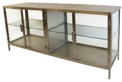 76 L Cesarina Sideboard Antique Brass Finished Iron With Glass Modern 4 Door