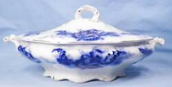 Mentone Flow Blue Covered Vegetable Dish Tureen Johnson Brothers Antique Nice