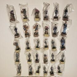 Lot Of 30 Civil War Soldier Figurines Ceramic Chess Men Blue And Grey 3 Inches
