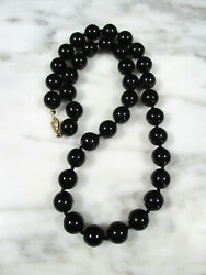 Vintage Hawaiian Black Coral Lg Round Bead Necklace 21 1/4 42g 14k Gold Clasp