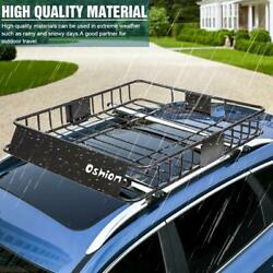 64 X 39 X 6 Universal Roof Rack Cargo Carrier W/ Extension Luggage Basket Suv