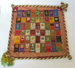 Antique 1910 Cigarette Silks Pillow Case Cover W/54 National Crests And Sports