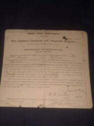 1906 New England Telephone And Telegraph Contract For Phone Lynn,ma.