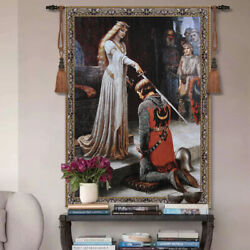 The Accolade By Edmund Blair Leighton Woven Tapestry Wall Medieval Art Hanging