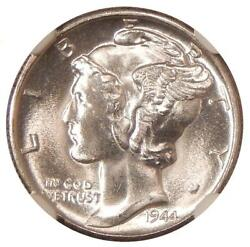 1944-s 10c Ngc Ms 67+ Bands Look Split On This High Grade Mercury Dime