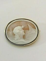 Victorian 18k Greek Goddess Amphitrite Queen Of The Sea Large Shell Cameo Pin