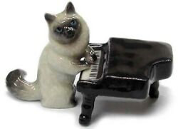 ➸ NORTHERN ROSE Miniature Figurine Musician Cat with Piano