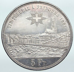 1881 Switzerland Swiss Shooting Festival Fribourg Antique Silver 5 F Coin I87253