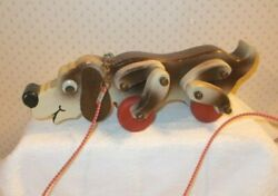 Vintage Handmade Wooden Beagle Dog Pull Toy Early 1990's 13.5 Long