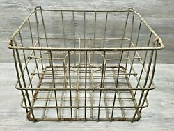 Large Vintage Interesting Metal Wire Milk Dairy Basket Crate W/ Ring In Center