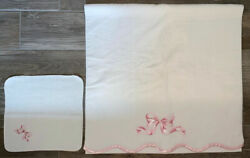 Vintage Bath Towel Wash Cloth Set White Pink Scalloped Bow Embroidery Cannon New