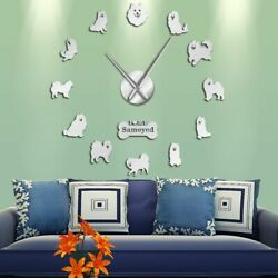 Frameless Mirror Surface Wall Clocks Dog Patterned Stickers Home Watch Clock New